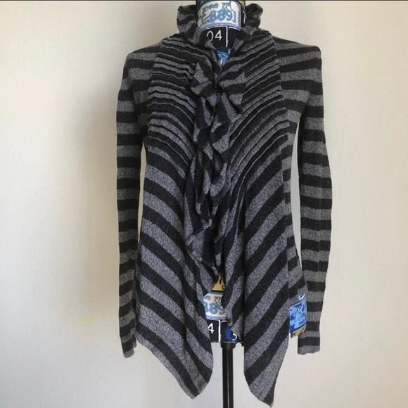 💜Lucy Cardigan Open Fr Striped Gray Black Ruffle